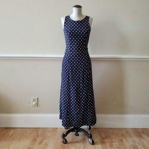Vintage Fitted Navy Blue Polka Dot Sundress
